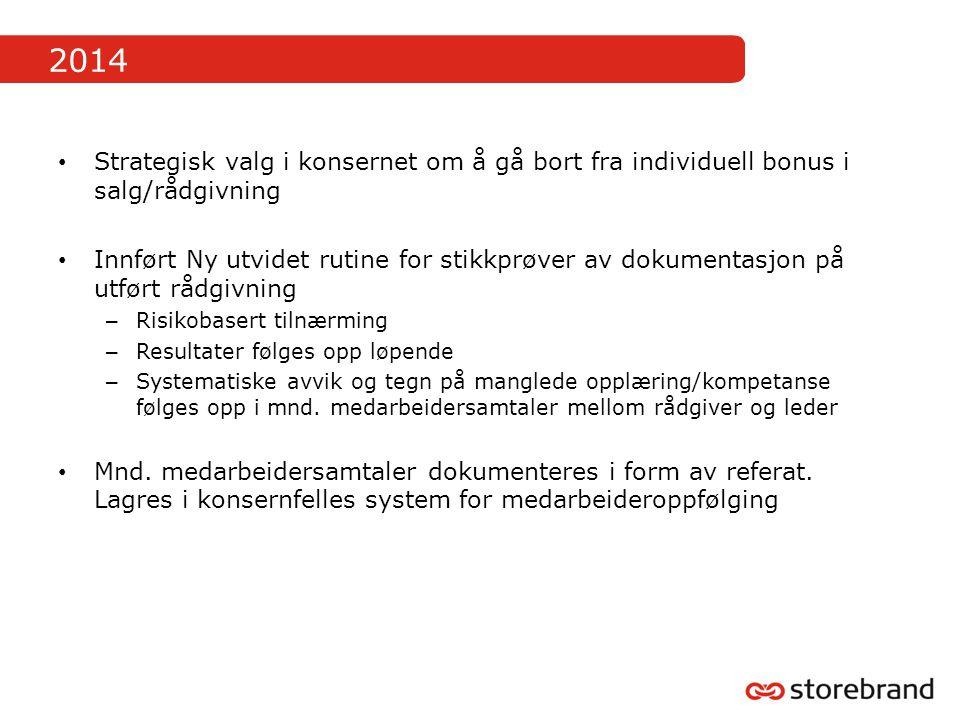 2014 Strategisk valg i konsernet om å gå bort fra individuell bonus i salg/rådgivning Innført Ny utvidet rutine for stikkprøver av dokumentasjon på ut
