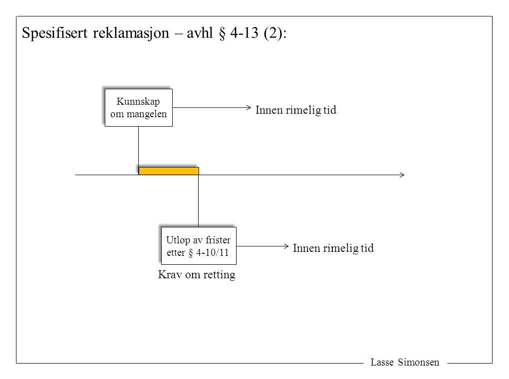 Lasse Simonsen Spesifisert reklamasjon – avhl § 4-13 (2): Kunnskap om mangelen Kunnskap om mangelen Utløp av frister etter § 4-10/11 Utløp av frister