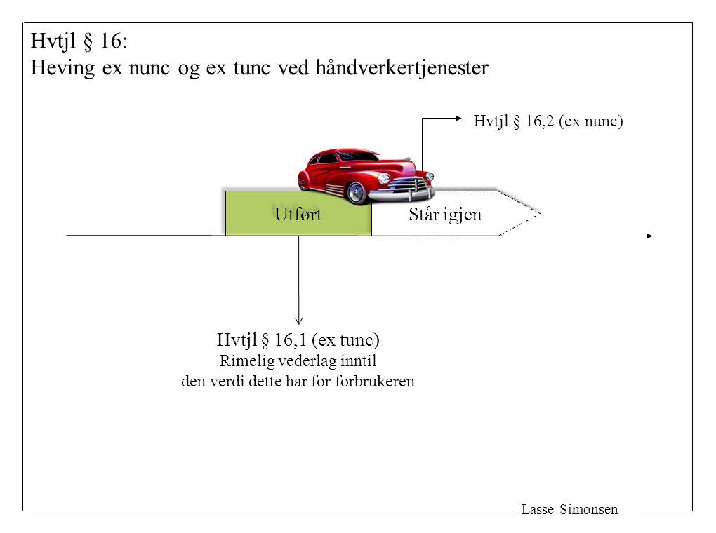 Står igjen Lasse Simonsen Utført Hvtjl § 16,2 (ex nunc) Hvtjl § 16: Heving ex nunc og ex tunc ved håndverkertjenester Hvtjl § 16,1 (ex tunc) Rimelig v