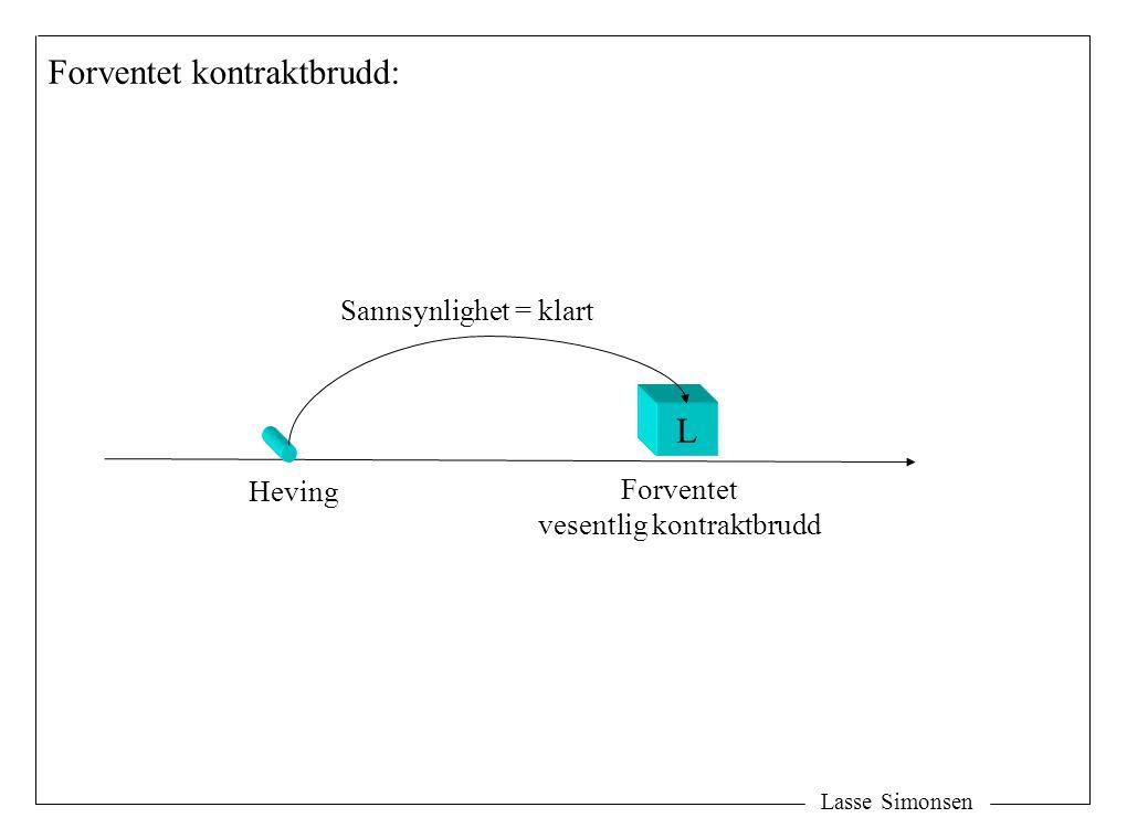 Lasse Simonsen Heving L Forventet vesentlig kontraktbrudd Sannsynlighet = klart Forventet kontraktbrudd: