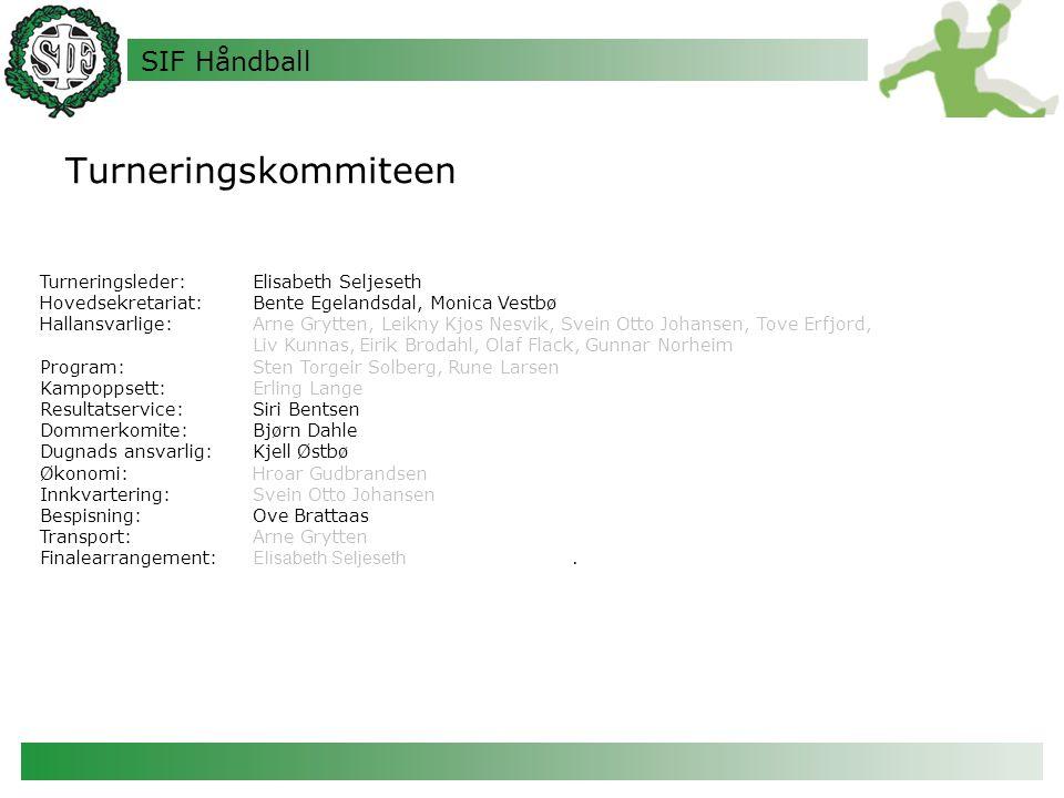 SIF Håndball Turneringskommiteen Turneringsleder: Elisabeth Seljeseth Hovedsekretariat:Bente Egelandsdal, Monica Vestbø Hallansvarlige:Arne Grytten, L