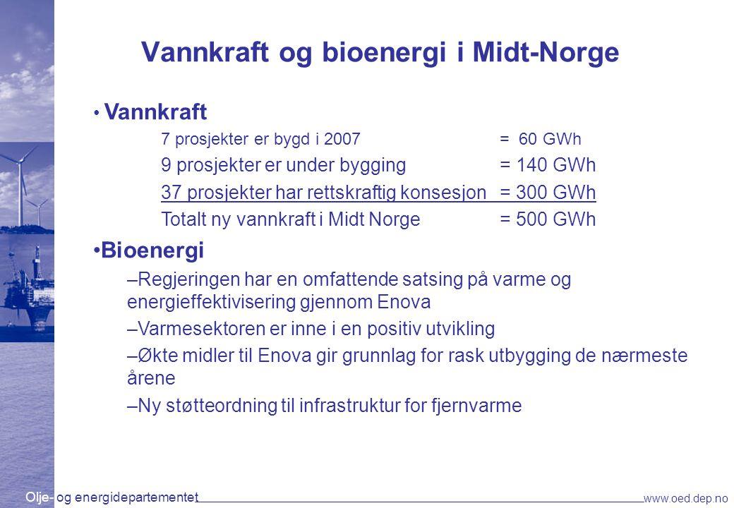 Olje- og energidepartementet www.oed.dep.no Vannkraft og bioenergi i Midt-Norge Vannkraft 7 prosjekter er bygd i 2007= 60 GWh 9 prosjekter er under by