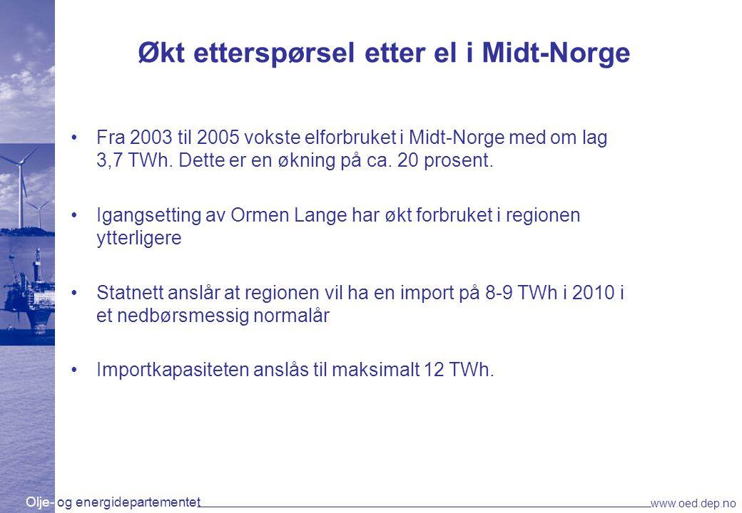 Olje- og energidepartementet www.oed.dep.no Økt etterspørsel etter el i Midt-Norge Fra 2003 til 2005 vokste elforbruket i Midt-Norge med om lag 3,7 TW