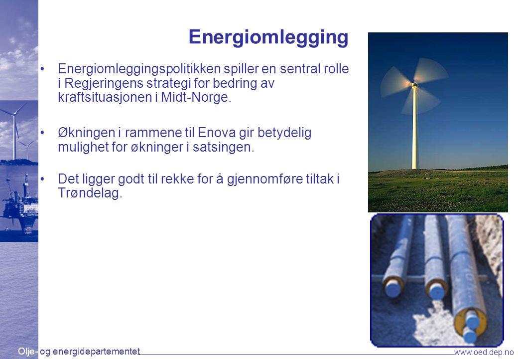 Olje- og energidepartementet www.oed.dep.no Energiomlegging Energiomleggingspolitikken spiller en sentral rolle i Regjeringens strategi for bedring av