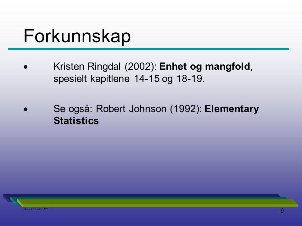 9  Kristen Ringdal (2002): Enhet og mangfold, spesielt kapitlene 14-15 og 18-19.  Se også: Robert Johnson (1992): Elementary Statistics Forkunnskap