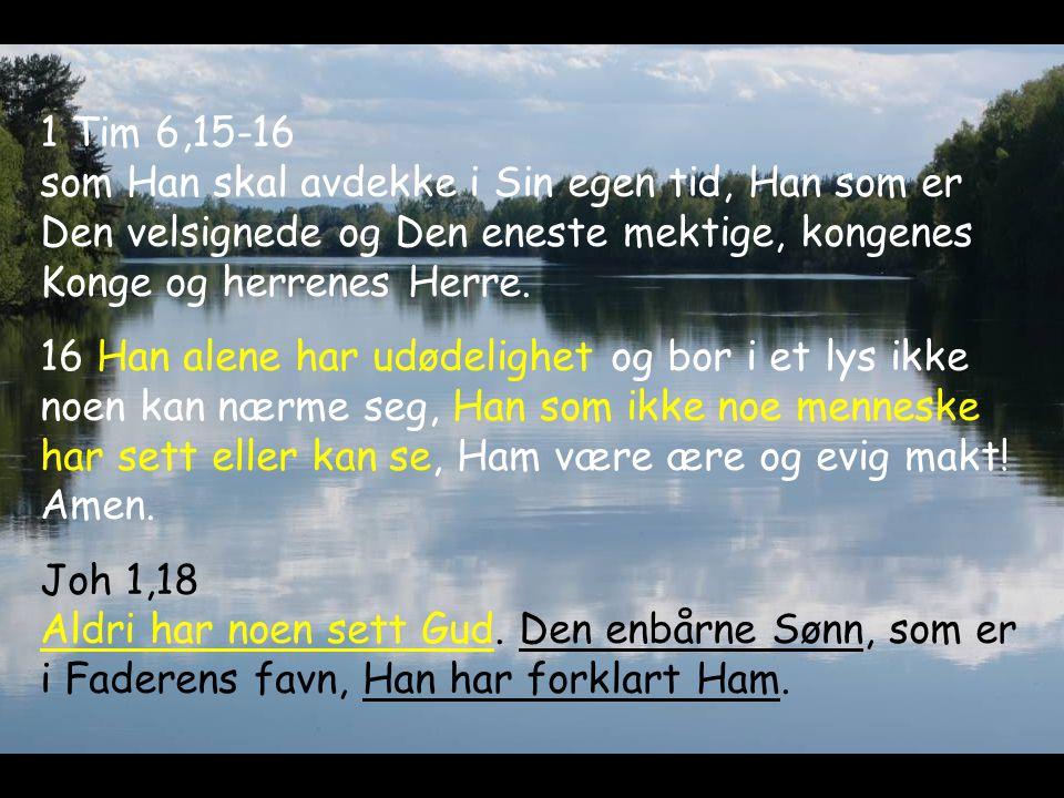 1 Tim 6,15-16 som Han skal avdekke i Sin egen tid, Han som er Den velsignede og Den eneste mektige, kongenes Konge og herrenes Herre. 16 Han alene har
