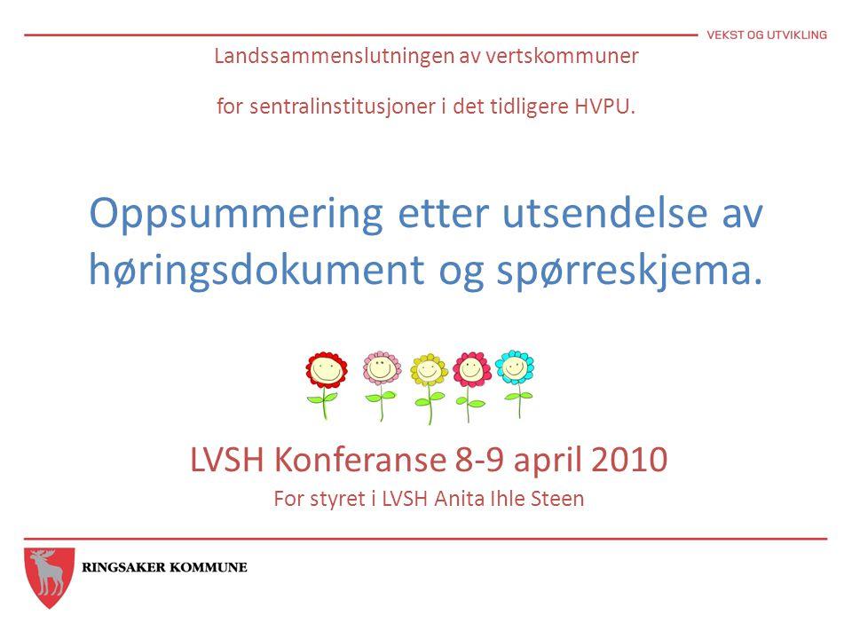 Landssammenslutningen av vertskommuner for sentralinstitusjoner i det tidligere HVPU. Oppsummering etter utsendelse av høringsdokument og spørreskjema
