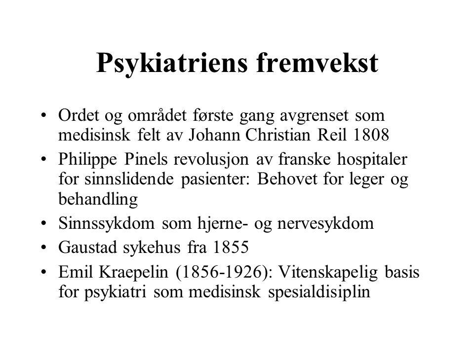 Psykiatriens fremvekst Ordet og området første gang avgrenset som medisinsk felt av Johann Christian Reil 1808 Philippe Pinels revolusjon av franske h
