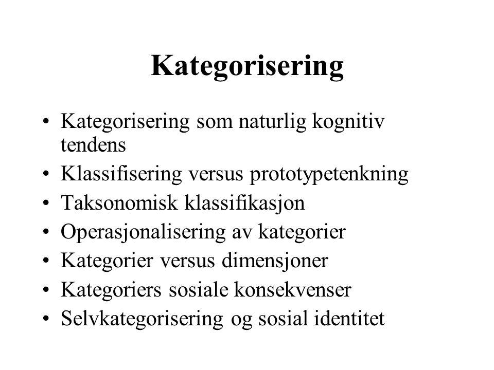Kategorisering Kategorisering som naturlig kognitiv tendens Klassifisering versus prototypetenkning Taksonomisk klassifikasjon Operasjonalisering av k