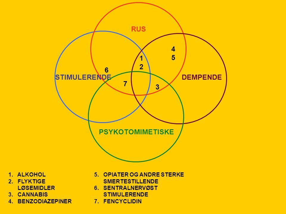 STIMULERENDEDEMPENDE RUS PSYKOTOMIMETISKE 1212 6 7 3 4545 1. ALKOHOL5. OPIATER OG ANDRE STERKE 2. FLYKTIGE SMERTESTILLENDE LØSEMIDLER6. SENTRALNERVØST