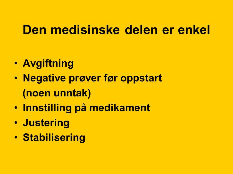 Den medisinske delen er enkel Avgiftning Negative prøver før oppstart (noen unntak) Innstilling på medikament Justering Stabilisering