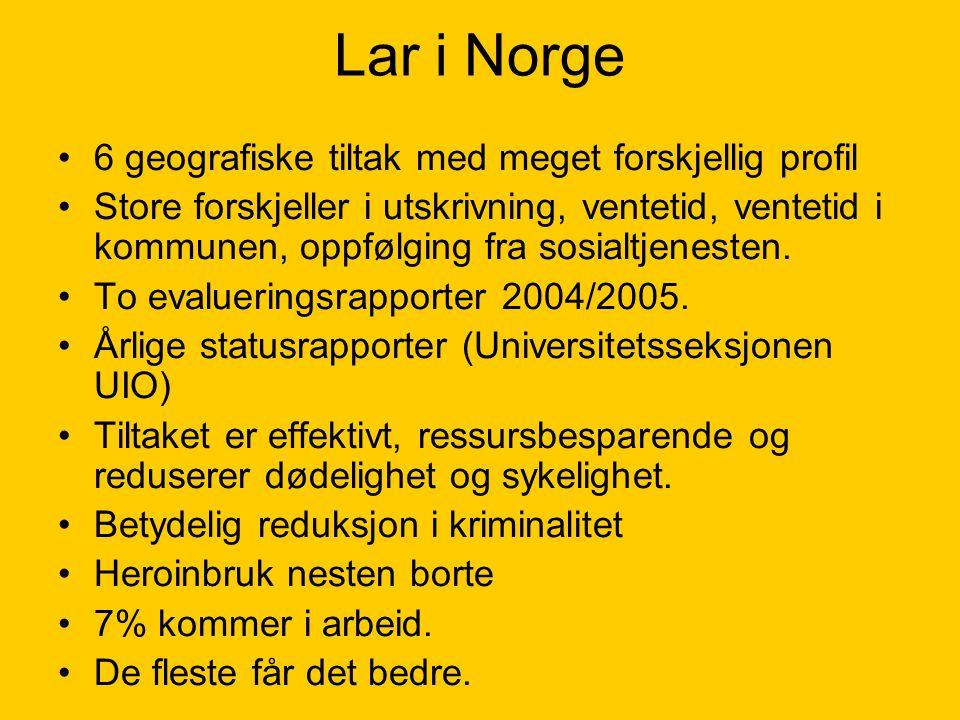Lar i Norge 6 geografiske tiltak med meget forskjellig profil Store forskjeller i utskrivning, ventetid, ventetid i kommunen, oppfølging fra sosialtje