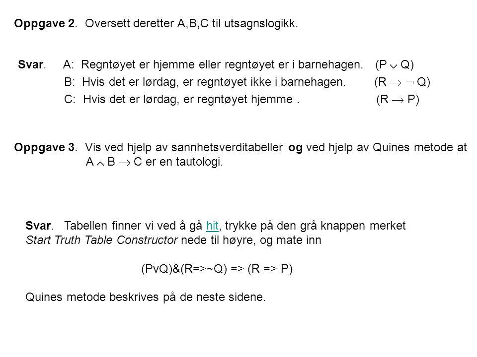 Oppgave 2. Oversett deretter A,B,C til utsagnslogikk. Svar. A: Regntøyet er hjemme eller regntøyet er i barnehagen. (P  Q) B: Hvis det er lørdag, er