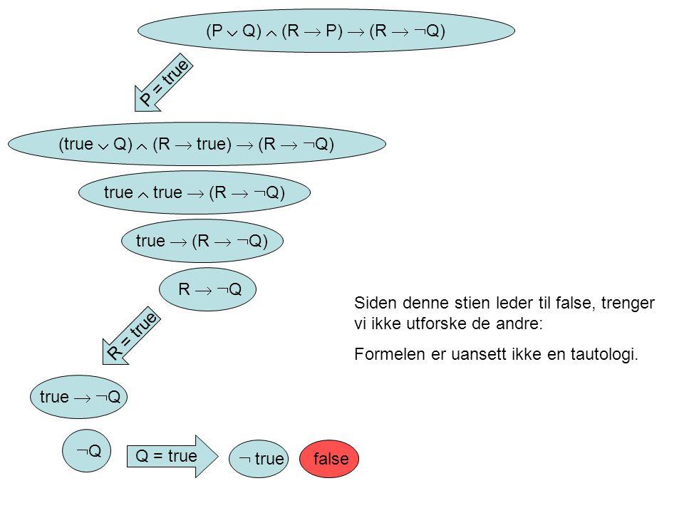 (P  Q)  (R  P)  (R   Q) P = true (true  Q)  (R  true)  (R   Q) true  true  (R   Q) true  (R   Q) R   Q R = true true   Q Q Q Q = true  true false Siden denne stien leder til false, trenger vi ikke utforske de andre: Formelen er uansett ikke en tautologi.