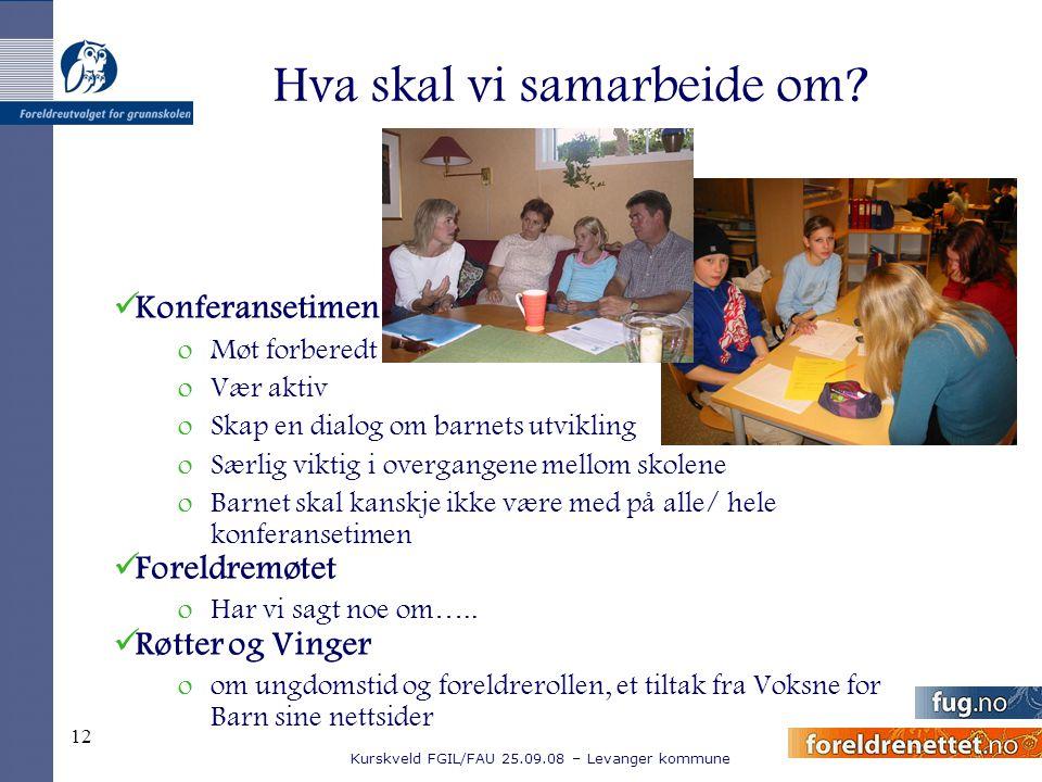 Kurskveld FGIL/FAU 25.09.08 – Levanger kommune 12 Hva skal vi samarbeide om? Konferansetimen oMøt forberedt oVær aktiv oSkap en dialog om barnets utvi