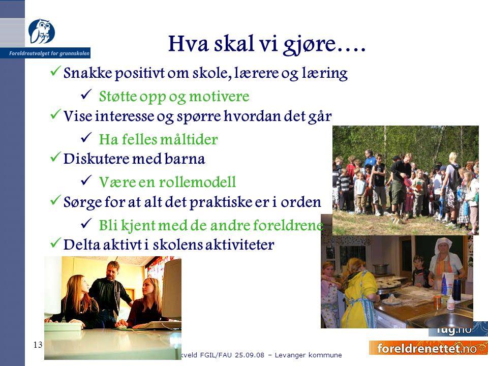 Kurskveld FGIL/FAU 25.09.08 – Levanger kommune 13 Hva skal vi gjøre…. Snakke positivt om skole, lærere og læring Støtte opp og motivere Vise interesse
