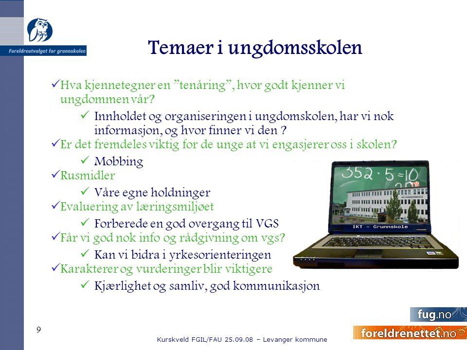 """Kurskveld FGIL/FAU 25.09.08 – Levanger kommune 9 Temaer i ungdomsskolen Hva kjennetegner en """"tenåring"""", hvor godt kjenner vi ungdommen vår? Innholdet"""
