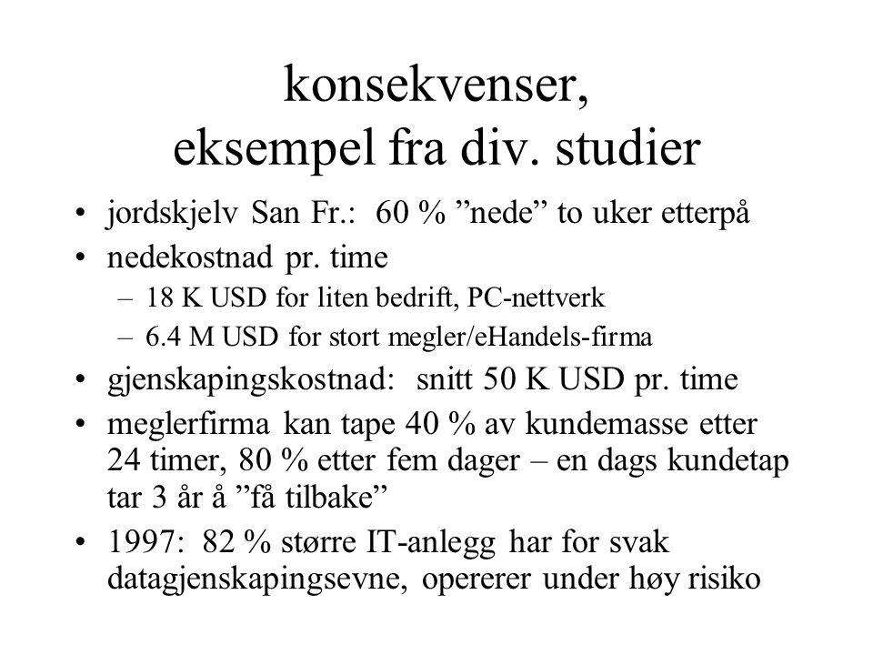 """konsekvenser, eksempel fra div. studier jordskjelv San Fr.: 60 % """"nede"""" to uker etterpå nedekostnad pr. time –18 K USD for liten bedrift, PC-nettverk"""