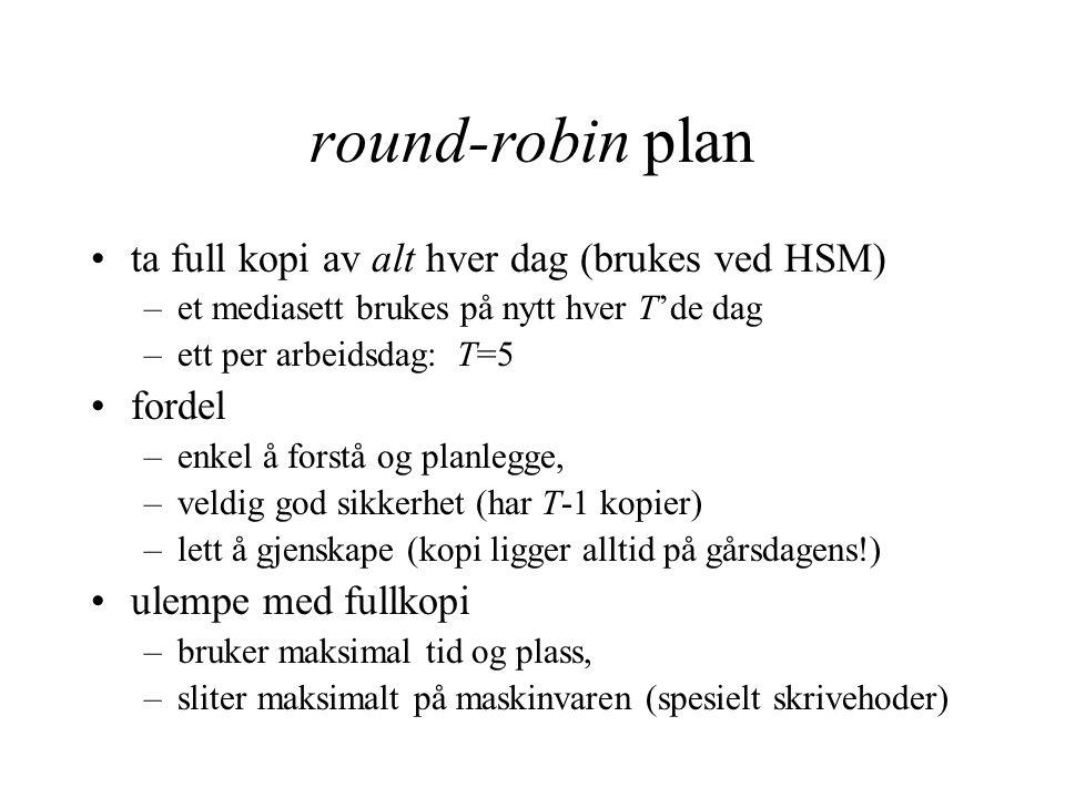 round-robin plan ta full kopi av alt hver dag (brukes ved HSM) –et mediasett brukes på nytt hver T'de dag –ett per arbeidsdag: T=5 fordel –enkel å for