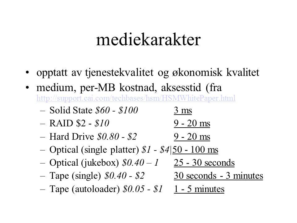 lagerkategorier online (typisk harddisk): –filer som leses og endres hyppig –krever lav aksesstid gir høyest arbeidstakt nearline (typisk CD): –store filer (ofte multimedia) som kan brukes ofte, men sjelden endres