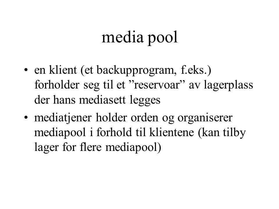 media pool en klient (et backupprogram, f.eks.) forholder seg til et reservoar av lagerplass der hans mediasett legges mediatjener holder orden og organiserer mediapool i forhold til klientene (kan tilby lager for flere mediapool)