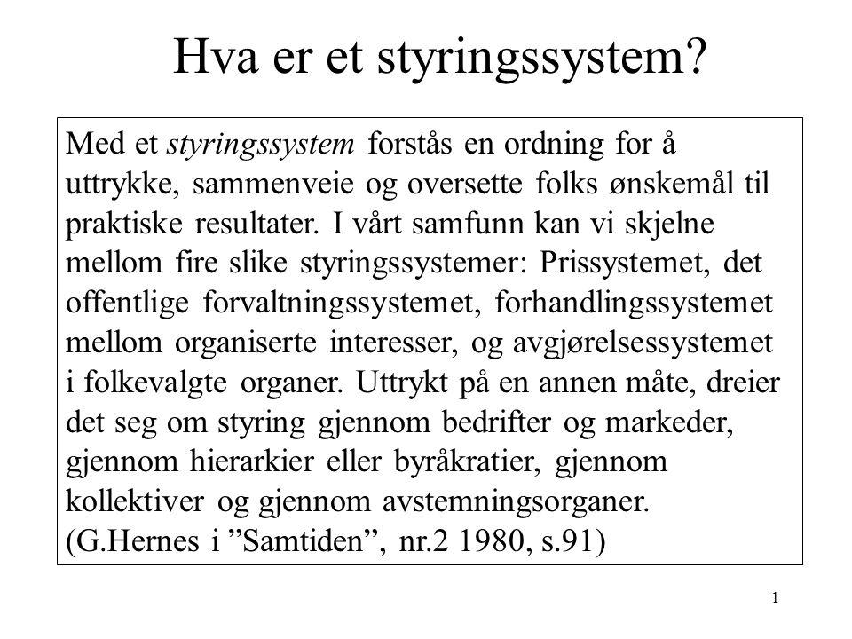 1 Hva er et styringssystem.