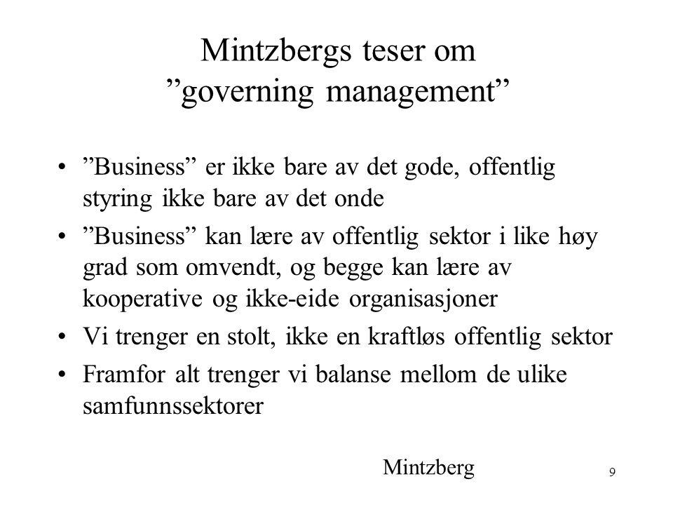 9 Mintzbergs teser om governing management Business er ikke bare av det gode, offentlig styring ikke bare av det onde Business kan lære av offentlig sektor i like høy grad som omvendt, og begge kan lære av kooperative og ikke-eide organisasjoner Vi trenger en stolt, ikke en kraftløs offentlig sektor Framfor alt trenger vi balanse mellom de ulike samfunnssektorer Mintzberg