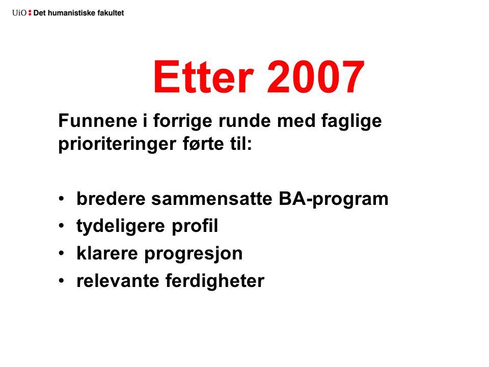 Etter 2007 Funnene i forrige runde med faglige prioriteringer førte til: bredere sammensatte BA-program tydeligere profil klarere progresjon relevante