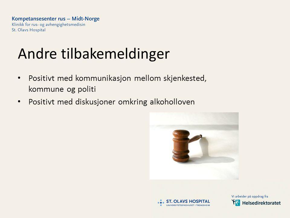 Andre tilbakemeldinger Positivt med kommunikasjon mellom skjenkested, kommune og politi Positivt med diskusjoner omkring alkoholloven