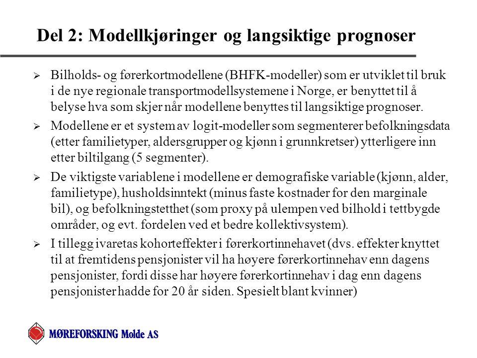 Del 2: Modellkjøringer og langsiktige prognoser  Bilholds- og førerkortmodellene (BHFK-modeller) som er utviklet til bruk i de nye regionale transpor
