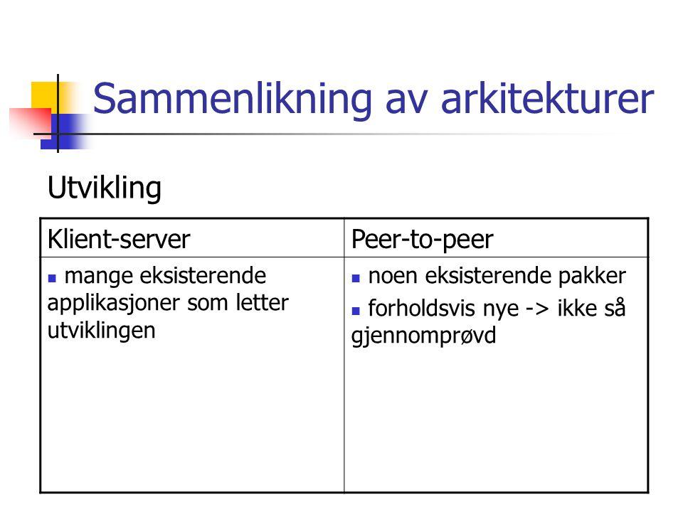 Sammenlikning av arkitekturer Klient-serverPeer-to-peer mange eksisterende applikasjoner som letter utviklingen noen eksisterende pakker forholdsvis nye -> ikke så gjennomprøvd Utvikling