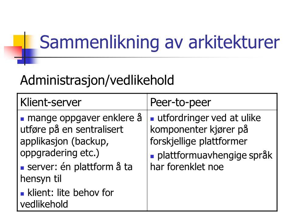 Sammenlikning av arkitekturer Klient-serverPeer-to-peer mange oppgaver enklere å utføre på en sentralisert applikasjon (backup, oppgradering etc.) server: én plattform å ta hensyn til klient: lite behov for vedlikehold utfordringer ved at ulike komponenter kjører på forskjellige plattformer plattformuavhengige språk har forenklet noe Administrasjon/vedlikehold