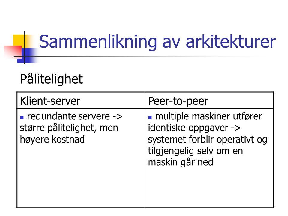 Sammenlikning av arkitekturer Klient-serverPeer-to-peer redundante servere -> større pålitelighet, men høyere kostnad multiple maskiner utfører identiske oppgaver -> systemet forblir operativt og tilgjengelig selv om en maskin går ned Pålitelighet