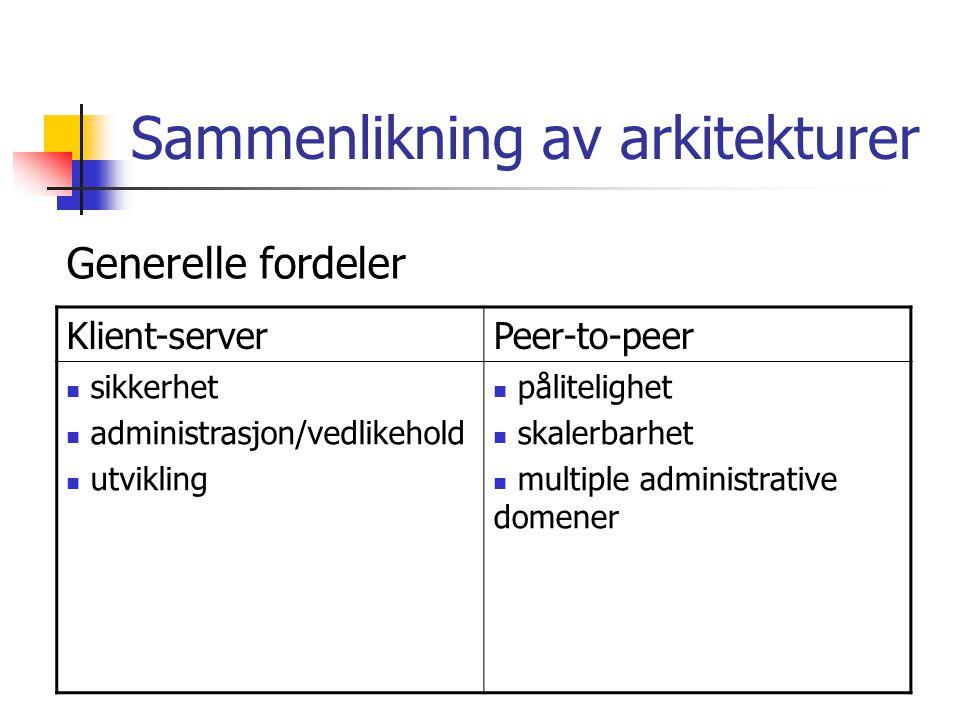 Sammenlikning av arkitekturer Klient-serverPeer-to-peer sikkerhet administrasjon/vedlikehold utvikling pålitelighet skalerbarhet multiple administrative domener Generelle fordeler