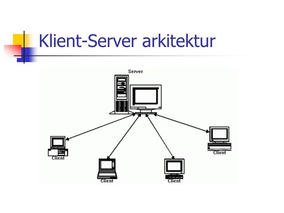 Peer-to-Peer arkitektur Mange identiske s/w-moduler som kjører på ulike maskiner Kommunikasjon mellom modulene +: Kombinerer regnekraften til alle maskinene - : Opprette kommunikasjon - : Endring av s/w-moduler