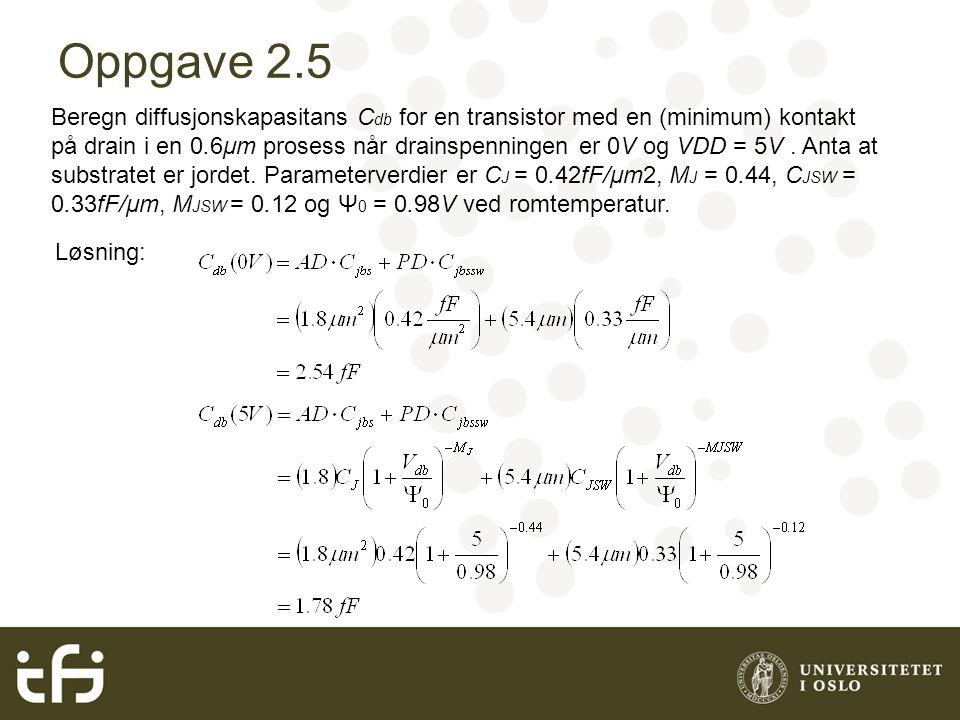 Oppgave 2.5 Beregn diffusjonskapasitans C db for en transistor med en (minimum) kontakt på drain i en 0.6μm prosess når drainspenningen er 0V og VDD = 5V.