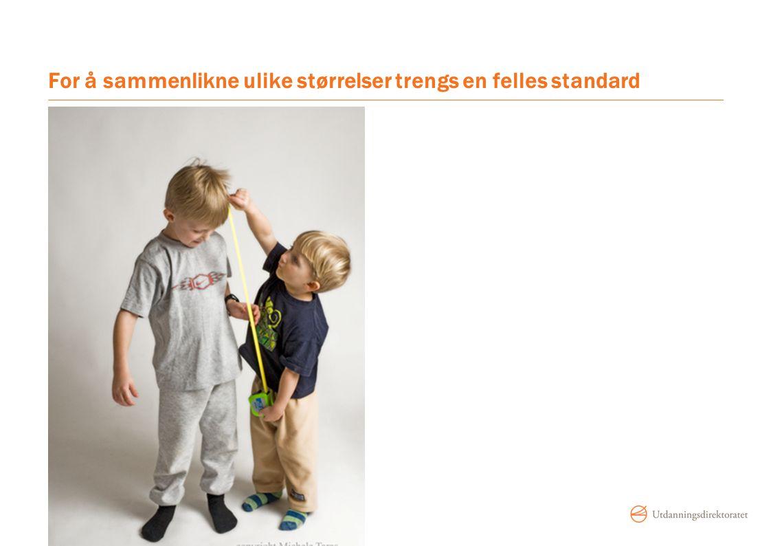 For å sammenlikne ulike størrelser trengs en felles standard