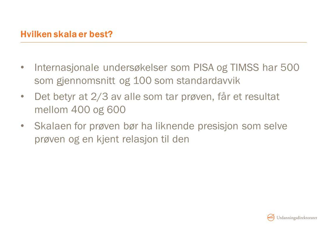 Hvilken skala er best? Internasjonale undersøkelser som PISA og TIMSS har 500 som gjennomsnitt og 100 som standardavvik Det betyr at 2/3 av alle som t