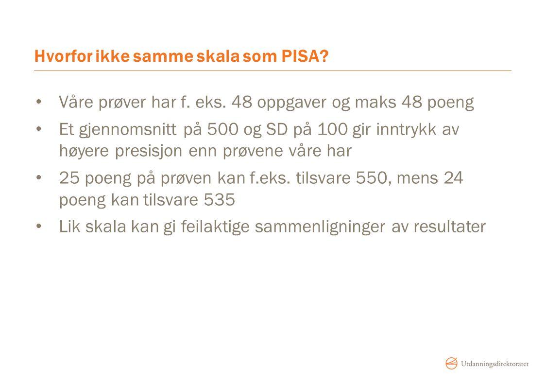 Hvorfor ikke samme skala som PISA? Våre prøver har f. eks. 48 oppgaver og maks 48 poeng Et gjennomsnitt på 500 og SD på 100 gir inntrykk av høyere pre