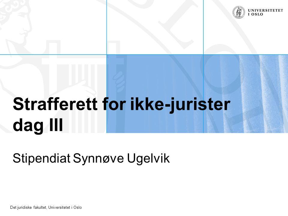 Det juridiske fakultet, Universitetet i Oslo Strafferett for ikke-jurister dag III Stipendiat Synnøve Ugelvik