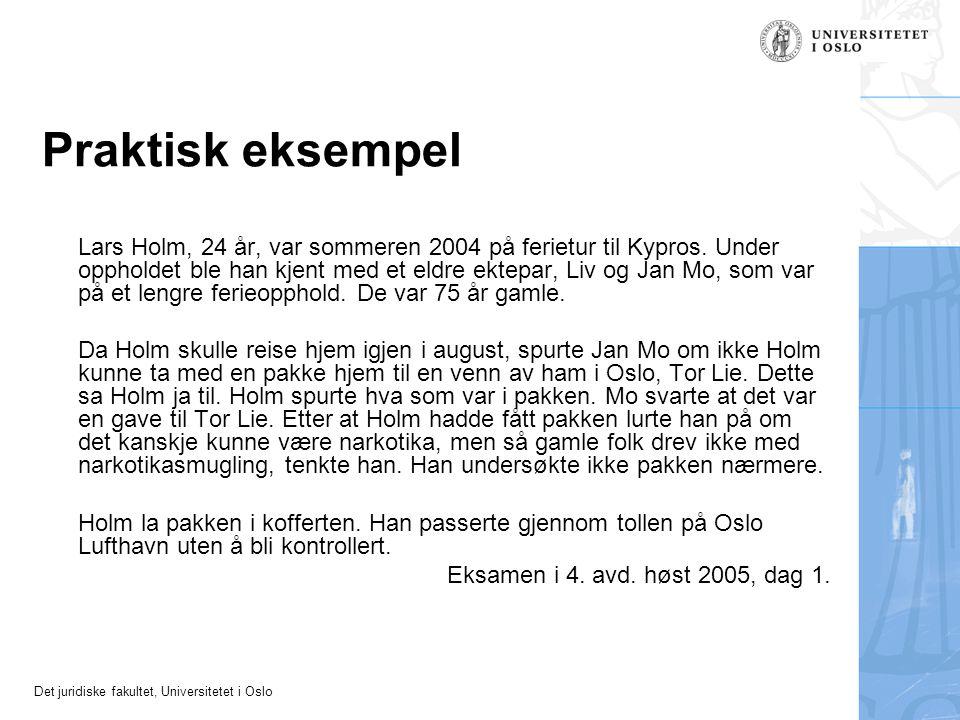 Det juridiske fakultet, Universitetet i Oslo Praktisk eksempel Lars Holm, 24 år, var sommeren 2004 på ferietur til Kypros. Under oppholdet ble han kje