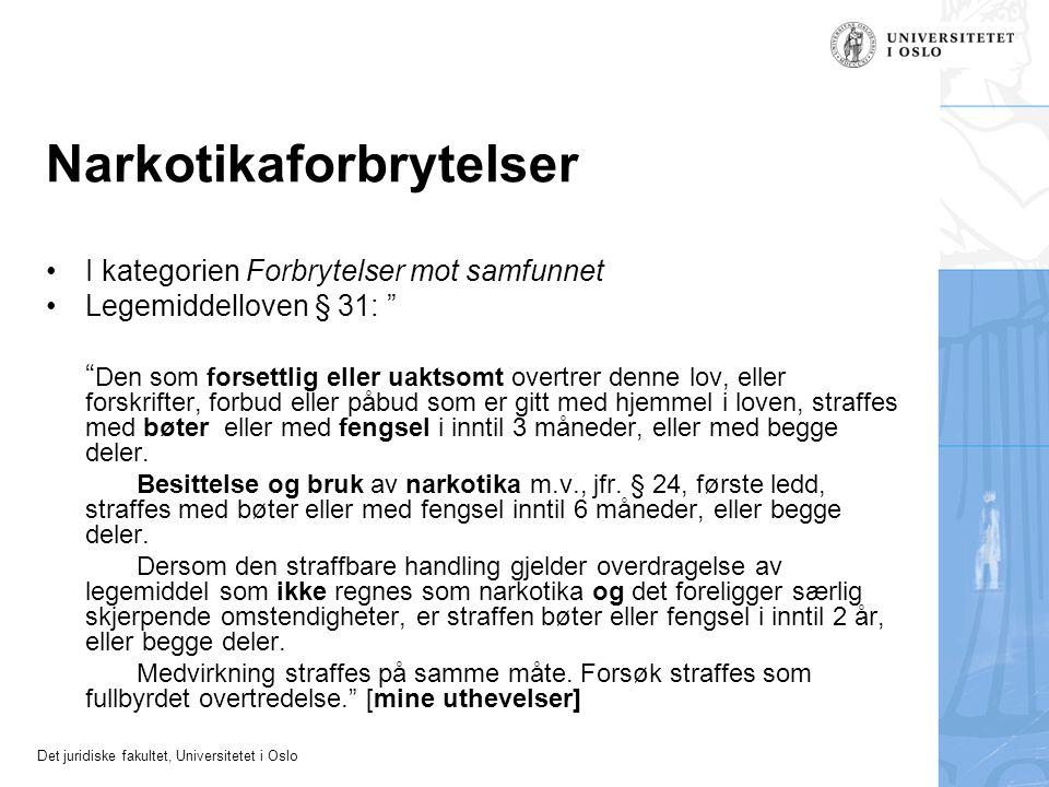 """Det juridiske fakultet, Universitetet i Oslo Narkotikaforbrytelser I kategorien Forbrytelser mot samfunnet Legemiddelloven § 31: """" """" Den som forsettli"""