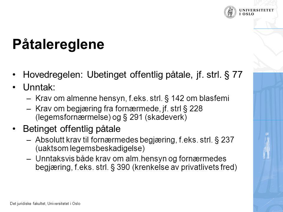 Det juridiske fakultet, Universitetet i Oslo Påtalereglene Hovedregelen: Ubetinget offentlig påtale, jf. strl. § 77 Unntak: –Krav om almenne hensyn, f