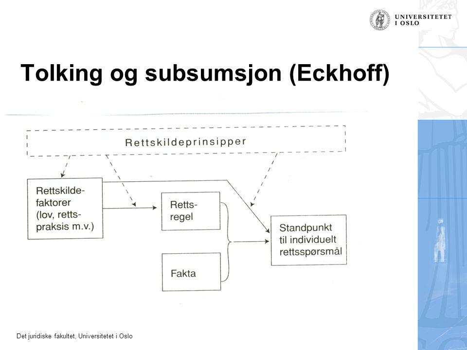 Det juridiske fakultet, Universitetet i Oslo Tolking og subsumsjon (Eckhoff)