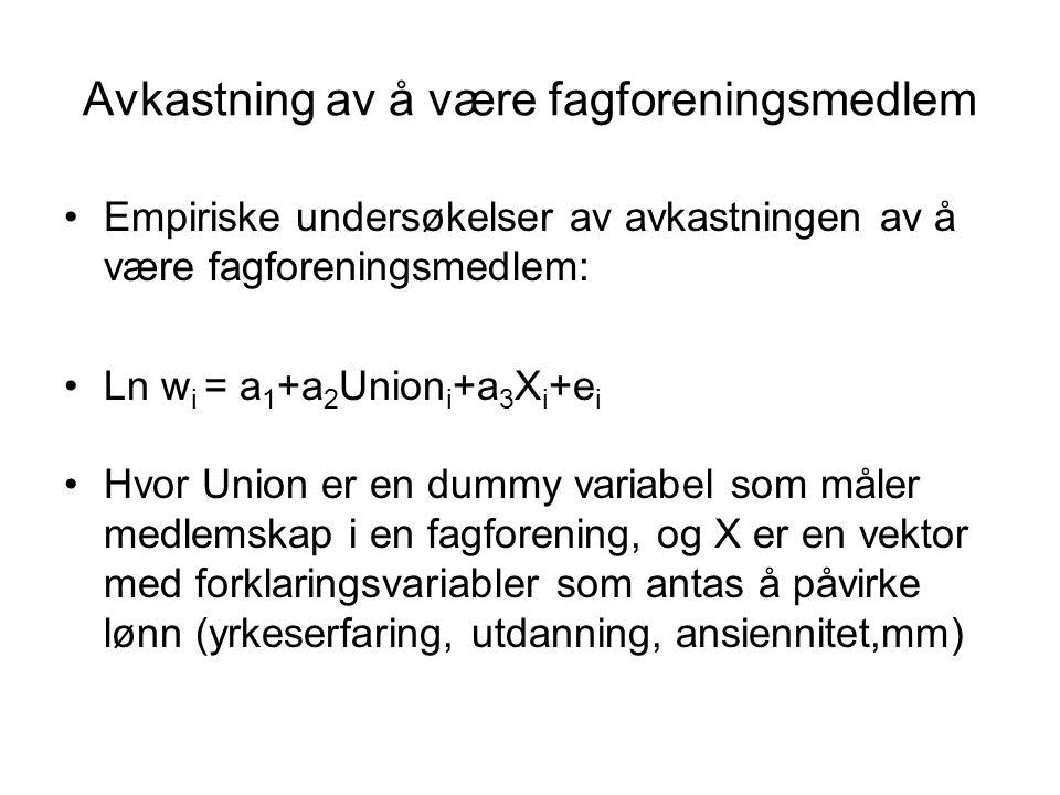 Avkastning av å være fagforeningsmedlem Empiriske undersøkelser av avkastningen av å være fagforeningsmedlem: Ln w i = a 1 +a 2 Union i +a 3 X i +e i