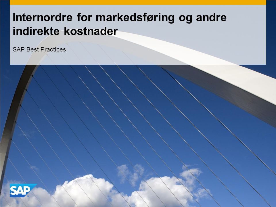 Internordre for markedsføring og andre indirekte kostnader SAP Best Practices