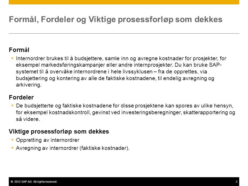 ©2012 SAP AG. All rights reserved.2 Formål, Fordeler og Viktige prosessforløp som dekkes Formål  Internordrer brukes til å budsjettere, samle inn og