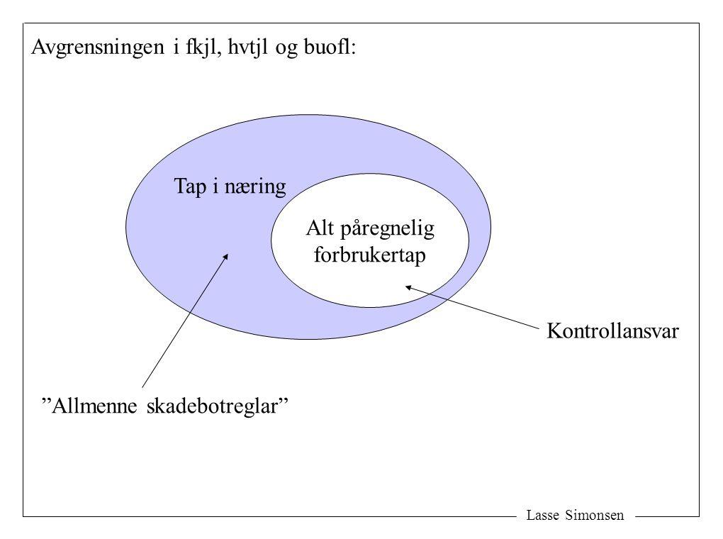 """Lasse Simonsen Alt påregnelig forbrukertap Tap i næring Avgrensningen i fkjl, hvtjl og buofl: """"Allmenne skadebotreglar"""" Kontrollansvar"""