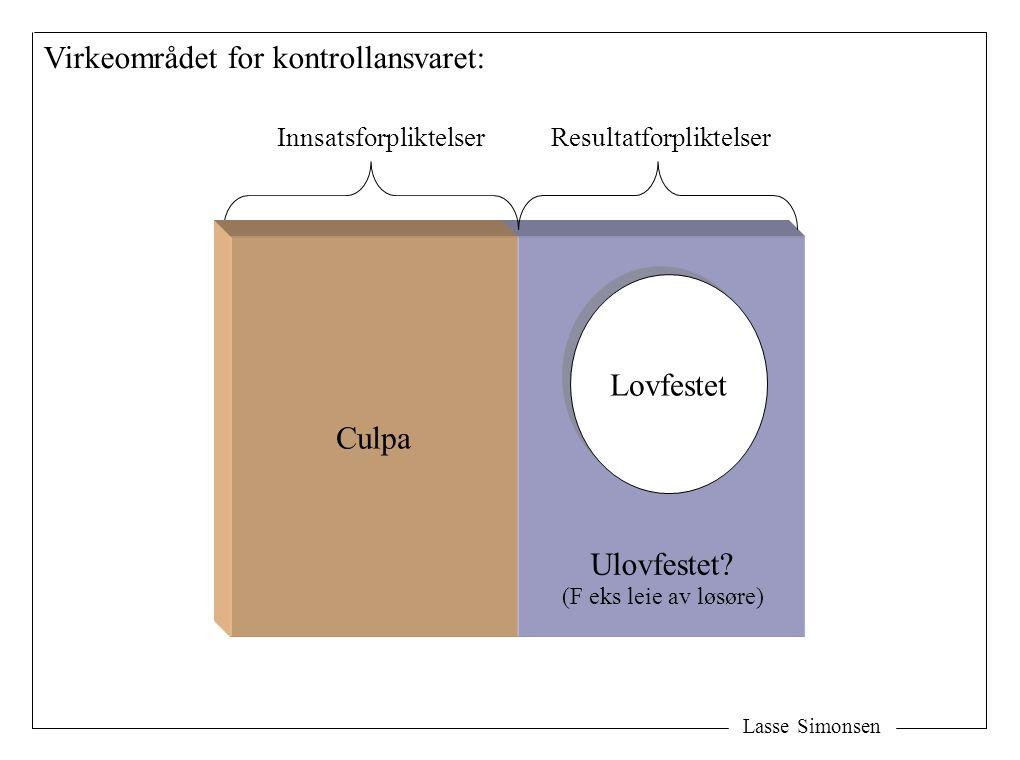 Lasse Simonsen Virkeområdet for kontrollansvaret: Lovfestet InnsatsforpliktelserResultatforpliktelser Ulovfestet? Culpa (F eks leie av løsøre)