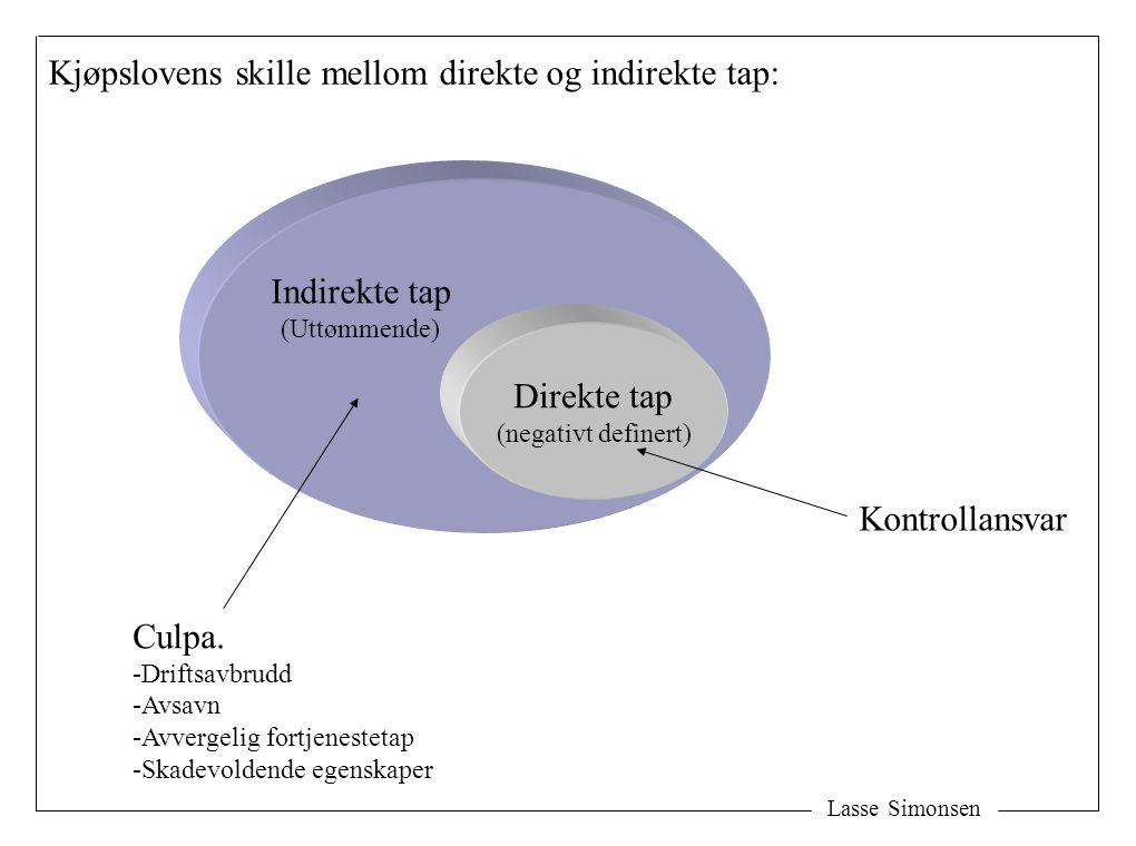 Lasse Simonsen Direkte tap (negativt definert) Indirekte tap (Uttømmende) Kjøpslovens skille mellom direkte og indirekte tap: Culpa. -Driftsavbrudd -A